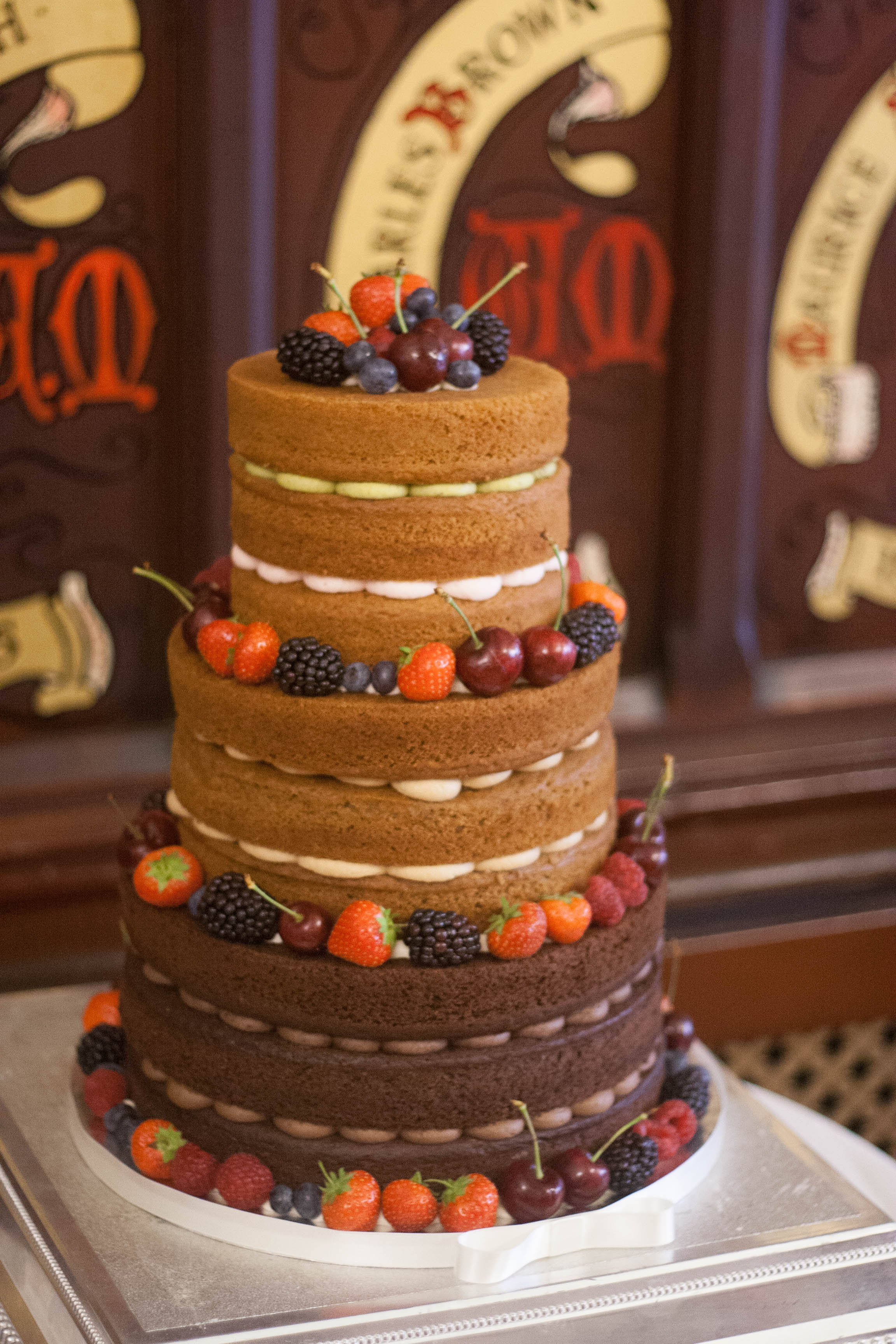 three tier naked vegan wedding cake Maso
