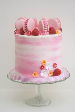watercolour lemon raspberry vegan cake
