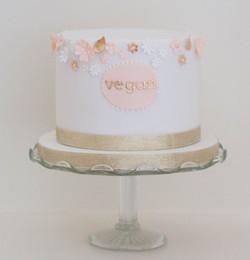 peach gold blossom vegan cake wedding