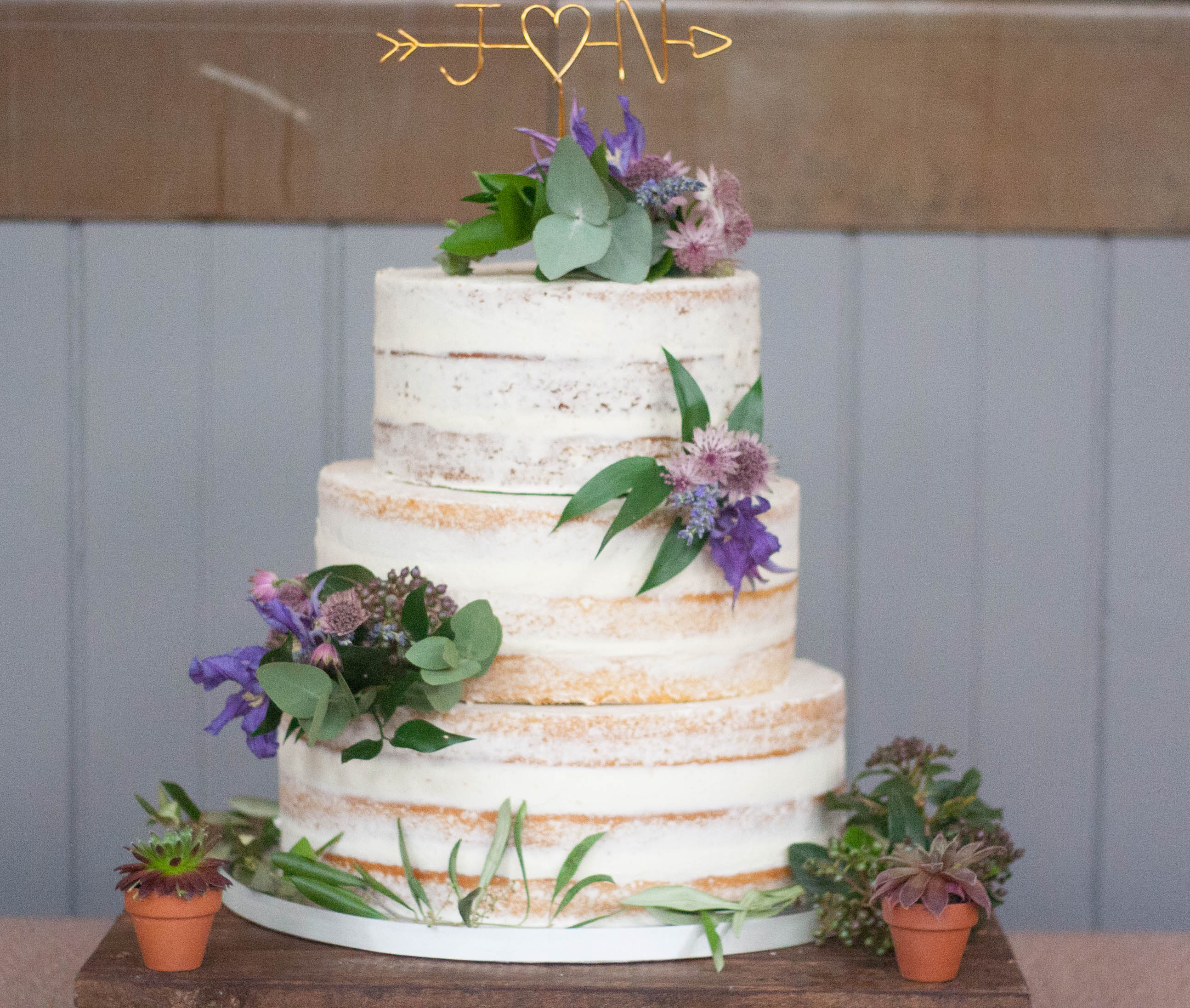 semi naked vegan wedding cake