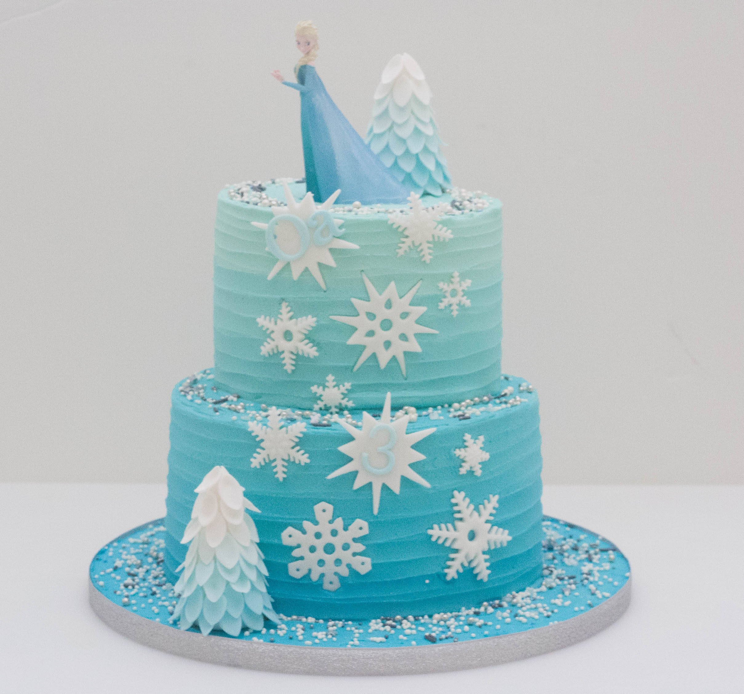 two tier frosted ombre Frozen cake