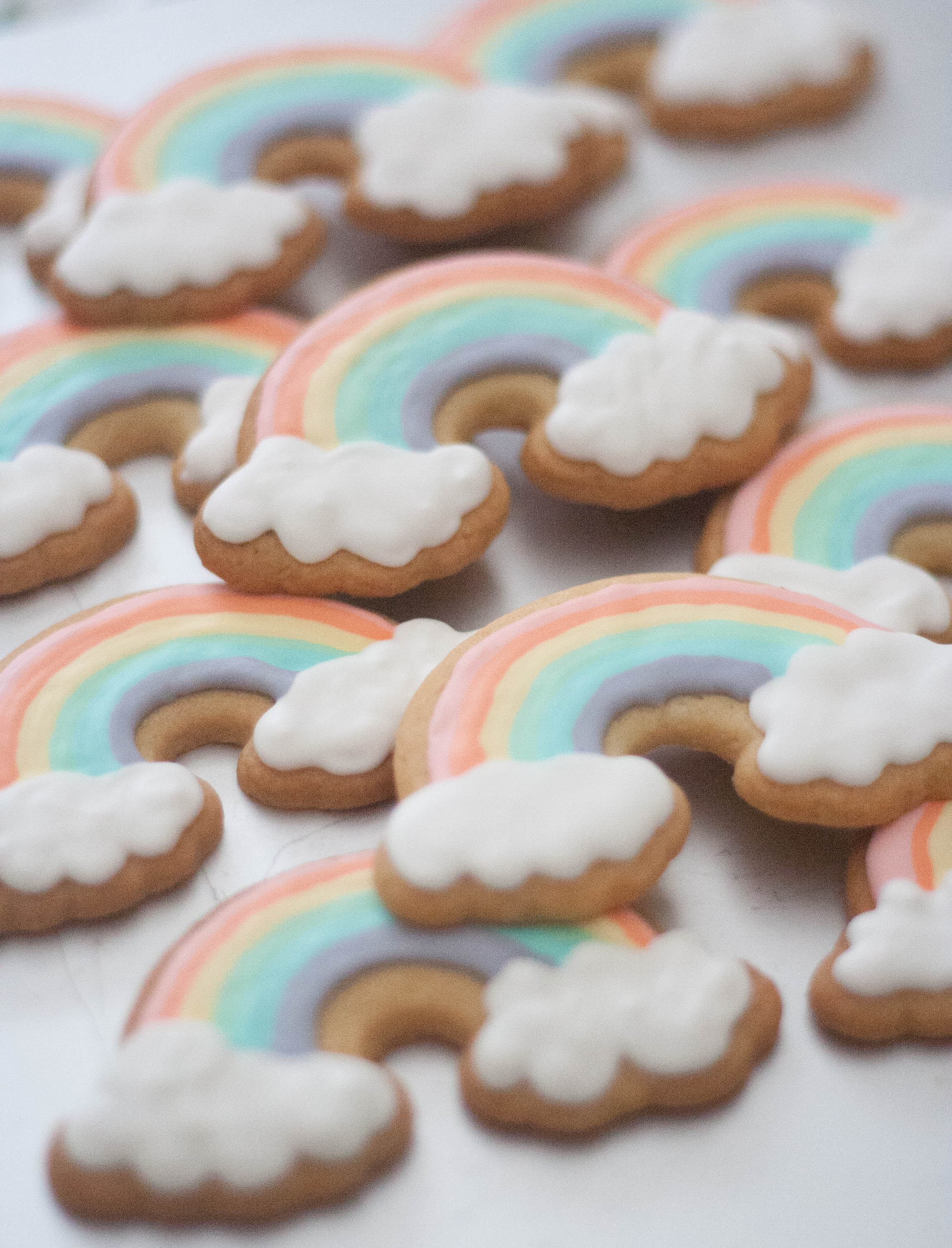 rainbow cloud vegan cookies