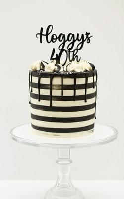 black and white stripe tall 6 inch cake