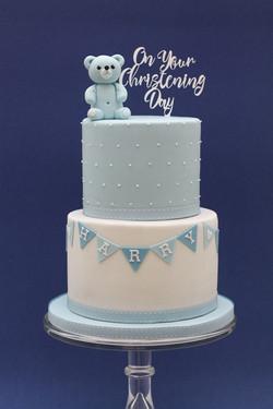 two tier christening cake bear