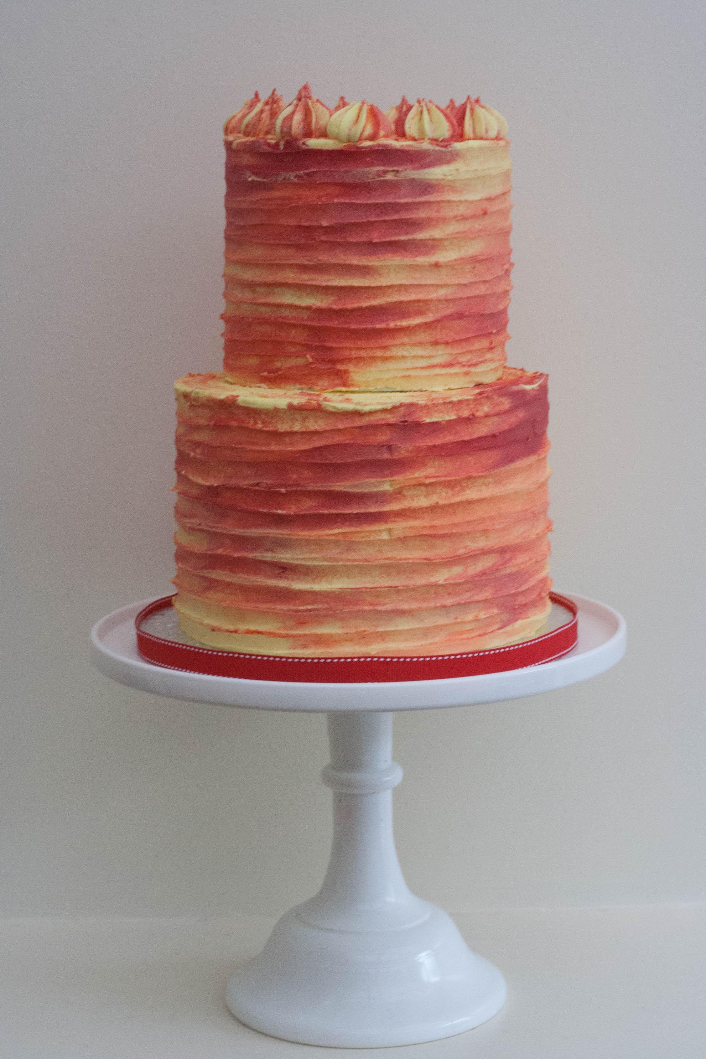 two tier watercolour vegan cake