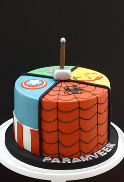 five way Marvel superheroes cake