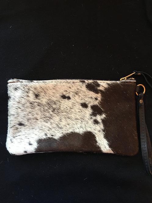 Black/Grey and Creme Calf Hair Wristlet