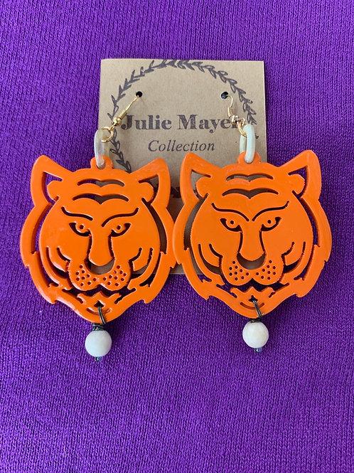 Orange Tiger Town Earrings (Purple/White Bead)