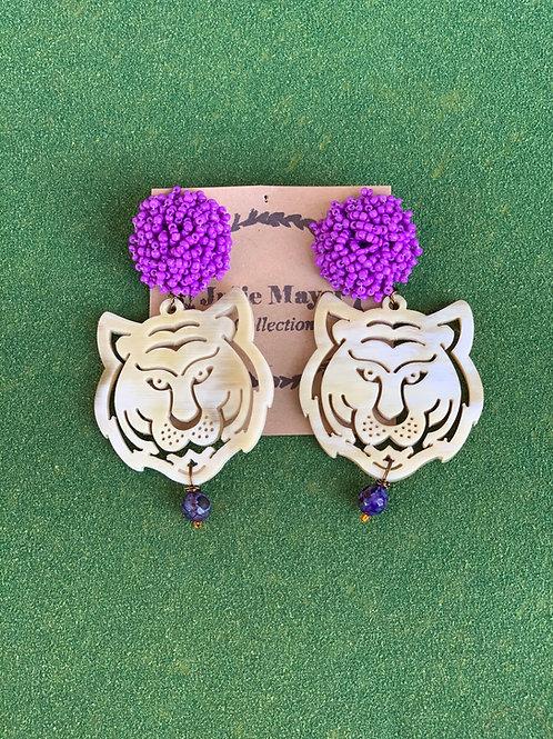 Beaded Topper LSU Tiger Earrings