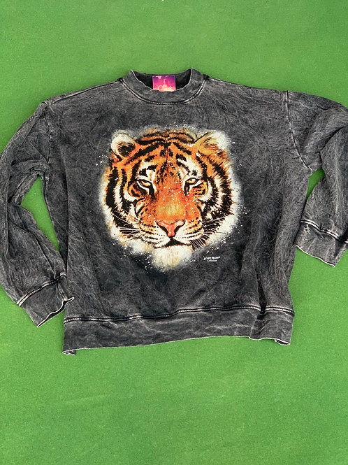 Acid Wash Long Sleeve Tiger Tee