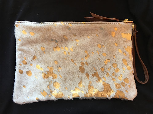 Large Creme and Gold Calf Hair Wristlet