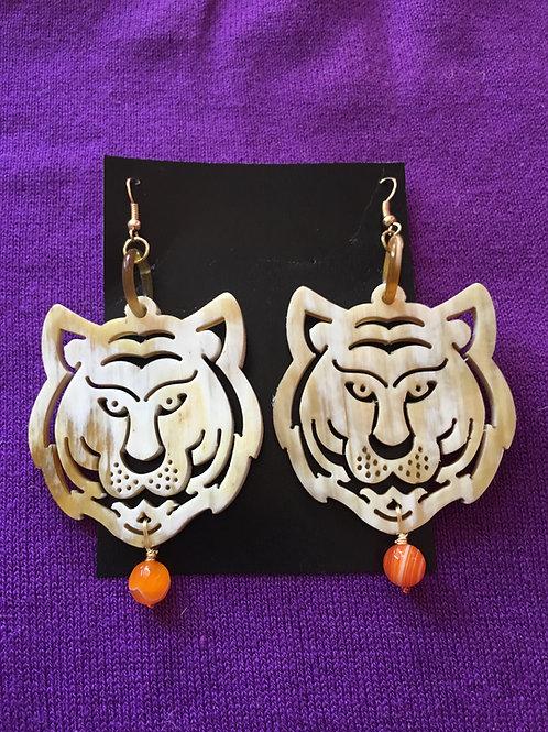 Tiger Town Earrings (Orange Bead)