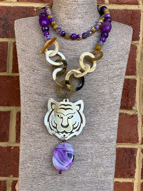 """LSU """"Mike the Tiger"""" Necklace"""