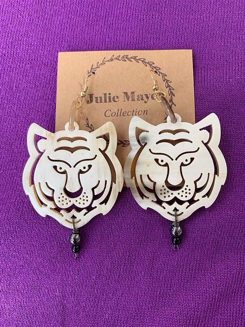Tiger Town Earrings (Black Bead)