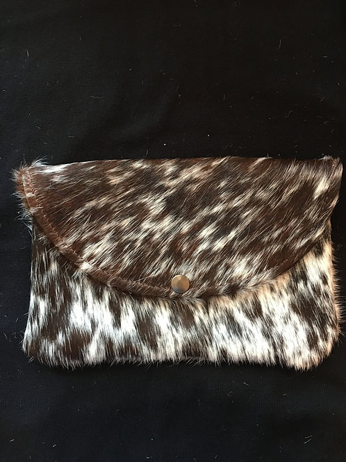 Brown and Creme Cheetah Clutch