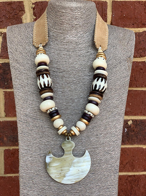 Tribal Pendant Beaded Necklace