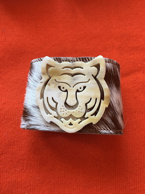 Creme/Brown Hide Cuff with Tiger