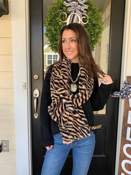 Luxurious Faux Fur Tiger Scarf