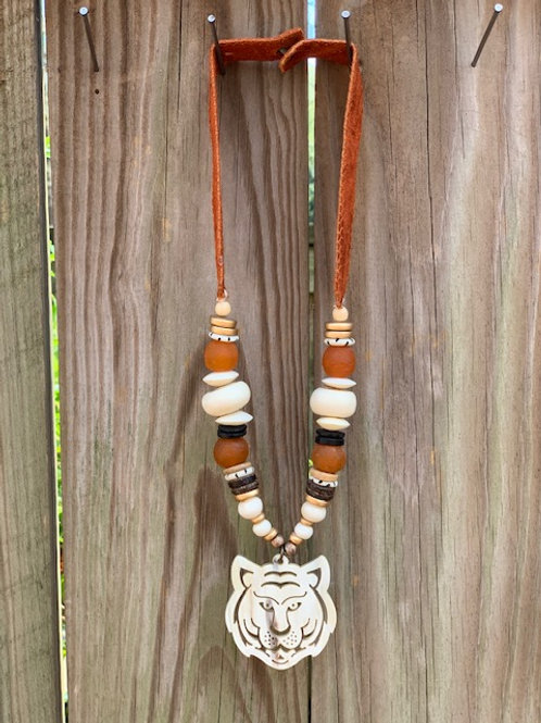 Rustic Tiger Pendant Necklace
