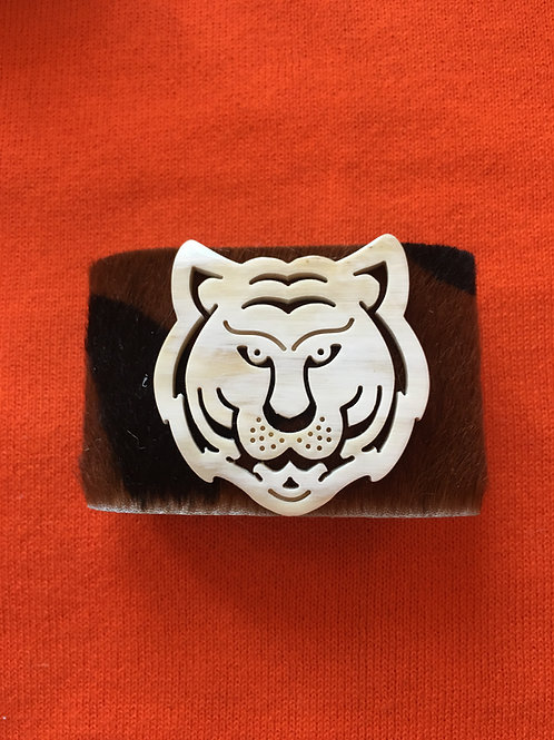 Cheetah Hide Cuff Bracelet with Tiger