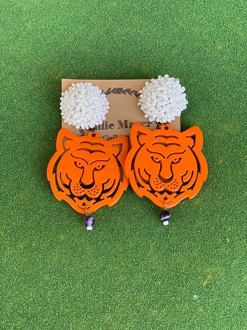 Beaded Topper Orange Tiger Earrings