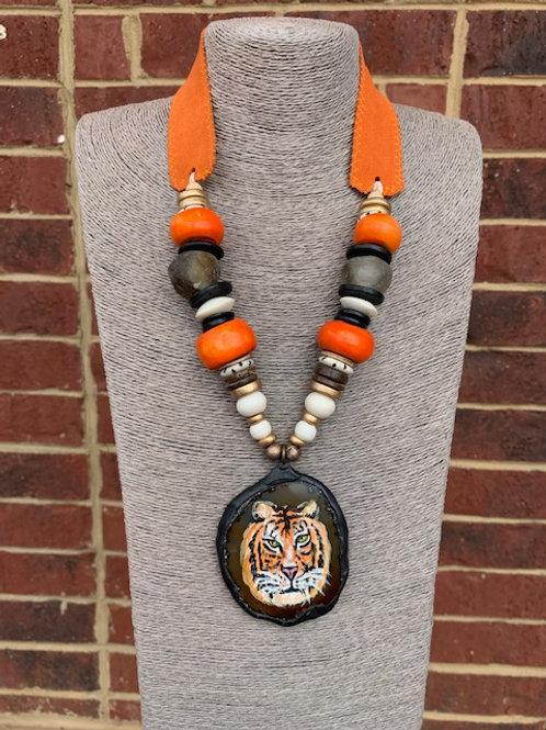 Handpainted Tiger Agate Pendant (Orange and Purple)