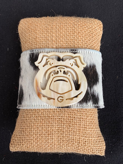 Black and White Georgia Bulldog Hide Cuff