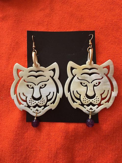 Tiger Town Earrings (Purple Bead)