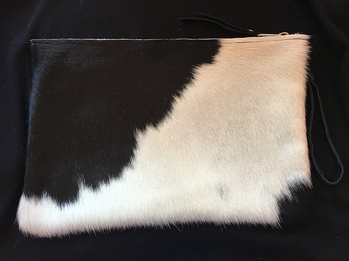Large Black and Creme Calf Hair Wristlet (Large spots)