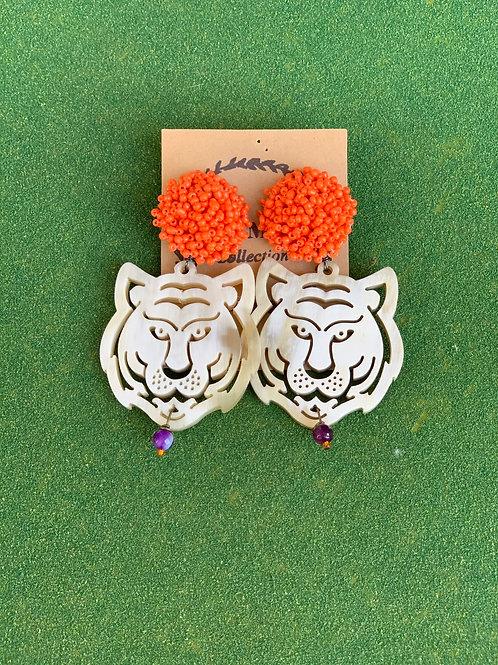 Beaded Topper Tiger Earring (orange + purple)