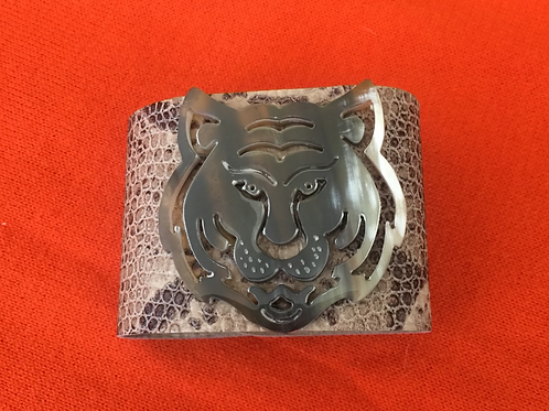 Leather Embossed Snake Print Cuff with Tiger