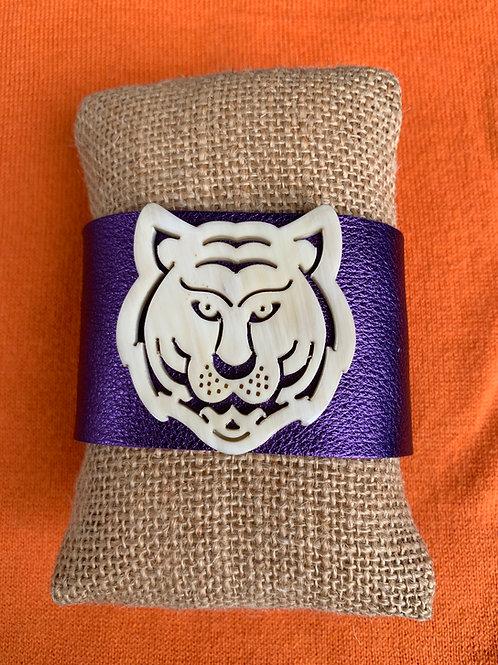 Purple Metallic Leather Tiger Cuff