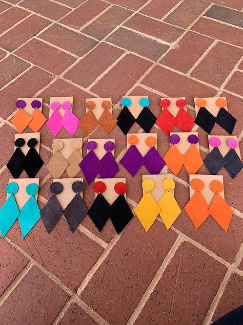 Designer Suede Earrings (Diamonds)