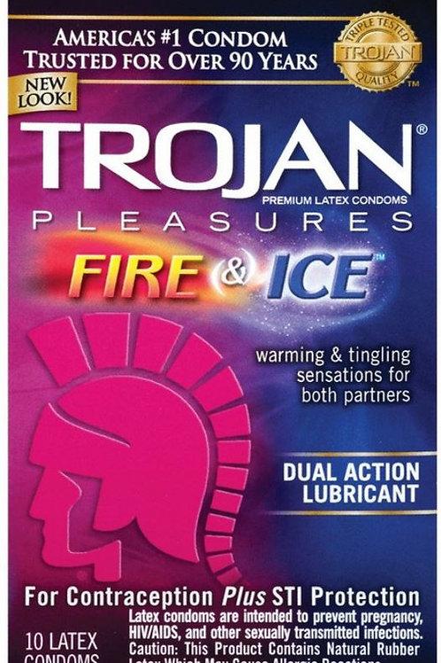 10 Condones Trojan Fire & Ice Mas Lubricado Sensacion Caliente