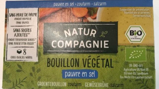 Bouillon cube végétal- Pauvre en sel -Sans sucres ajoutés- Bio