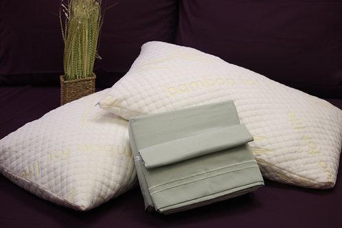 package (2 queen pillows + queen sheet set)
