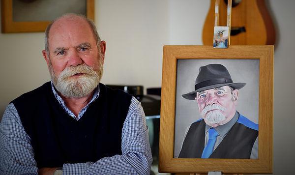 John White next to commissioned portrait - David Walker Art