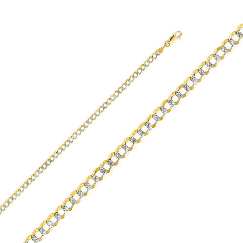 14k Two Tone Gold 3.6-mm Cuban Chain Necklace