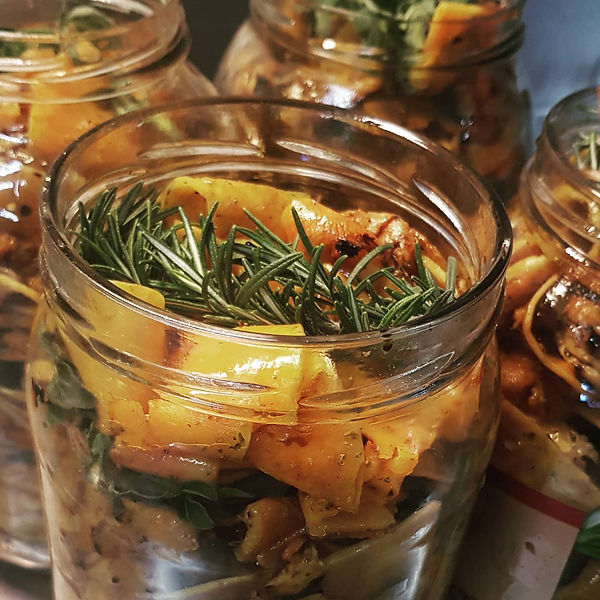 grilled and marinated butternut squash with home grown rosemary