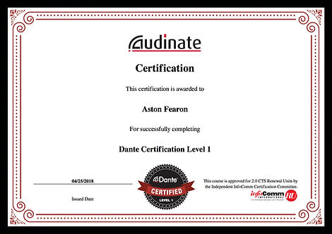Aston Fearon- Dante Level 1 Certificate.