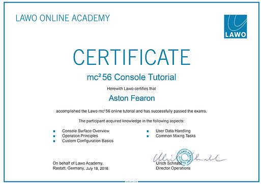 Aston Fearon- Lawo mc2 56 Certificate.jp