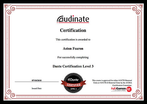 Aston Fearon- Dante Level 3 Certificate.