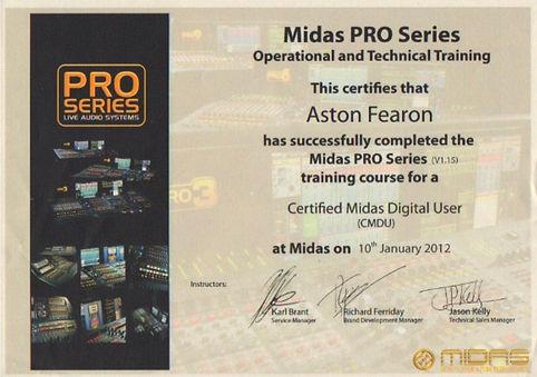 Aston Fearon- Midas Pro Series CMDU Cert