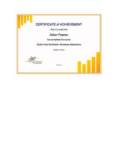 Aston Fearon- Studer Vista Certification