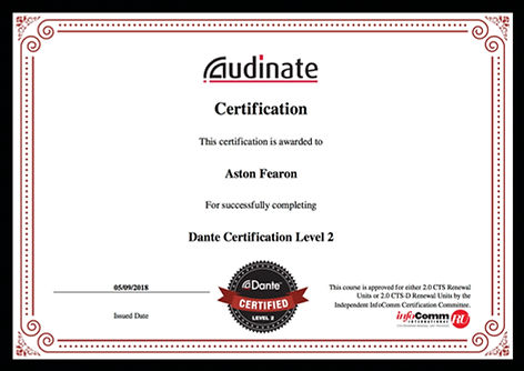 Aston Fearon- Dante Level 2 Certificate.