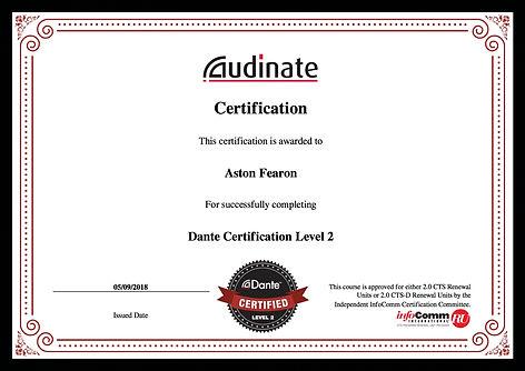 Aston Fearon- Dante Level 2 Certificate.