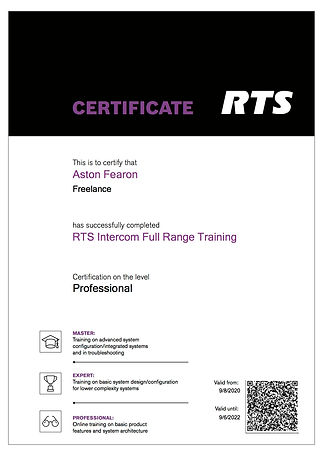 Aston Fearon- RTS Intercom Full Range Tr