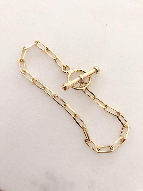 Bracelet maille rectangle, Plaqué or 3 microns