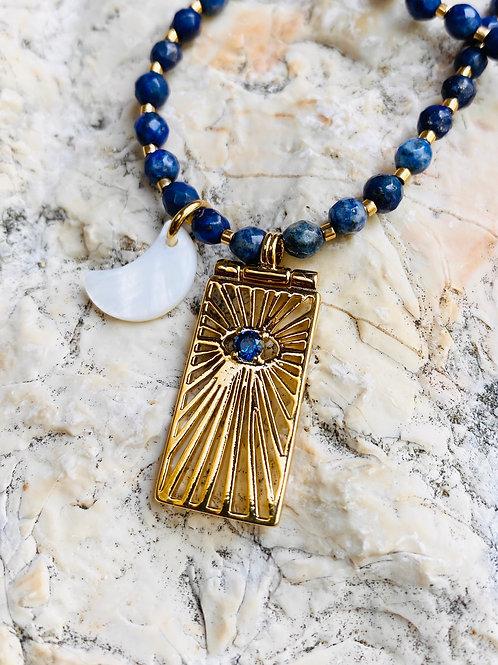 Collier Ojo Lapis Lazuli, Doré à l'Or fin