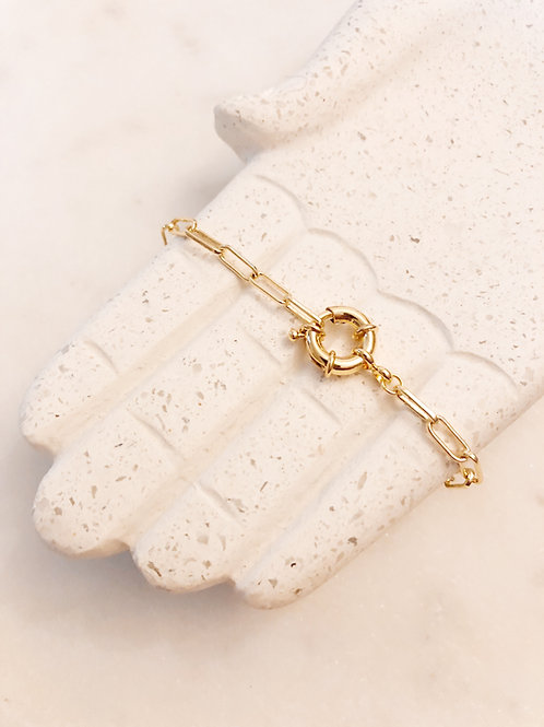 Bracelet maille rectangle, Doré à l'or fin